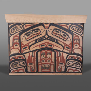 "Eagle & Bear Chief's Chest David Boxley Tsimshian Red cedar, paint 26"" x 18½"" x 34½"" $25,000"