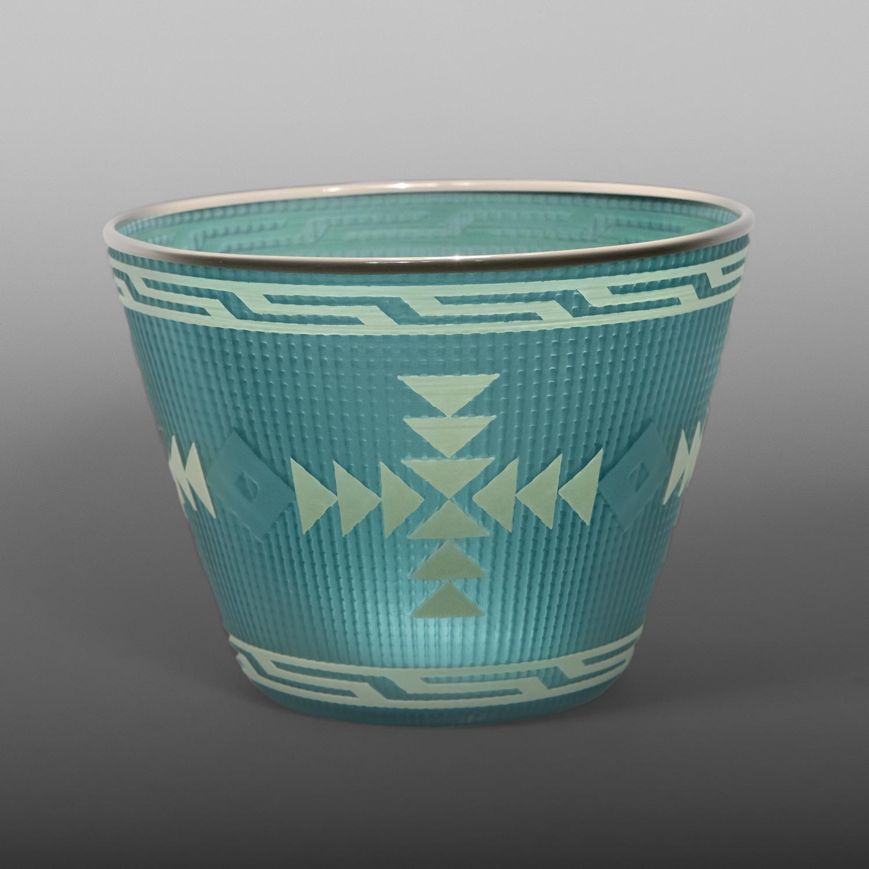 "Sky Blue Basket Preston Singletary Tlingit Blown & carved glass 6 ½"" dia. x 5"" $3500"