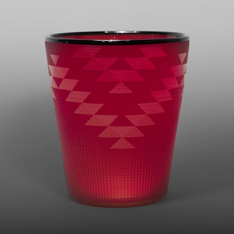 "Cranberry Basket Preston Singletary Tlingit Blown & carved glass 5 ½"" dia. x 6 ½"" $3500"
