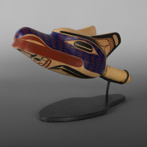 """Wolf Rattle David A Boxley Tsimshian Alder, leather, paint, beads, custom stand 12"""" x 4"""" x 4"""" x (&""""  high with stand) $5800"""