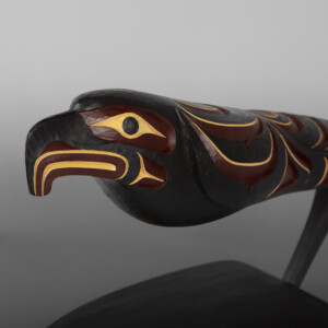 "Gliding Eagle Rattle  Erich Glendale Kwakwaka'wakw  Yellow cedar, beads, paint 15"" x 7½ x 4""  $2900"