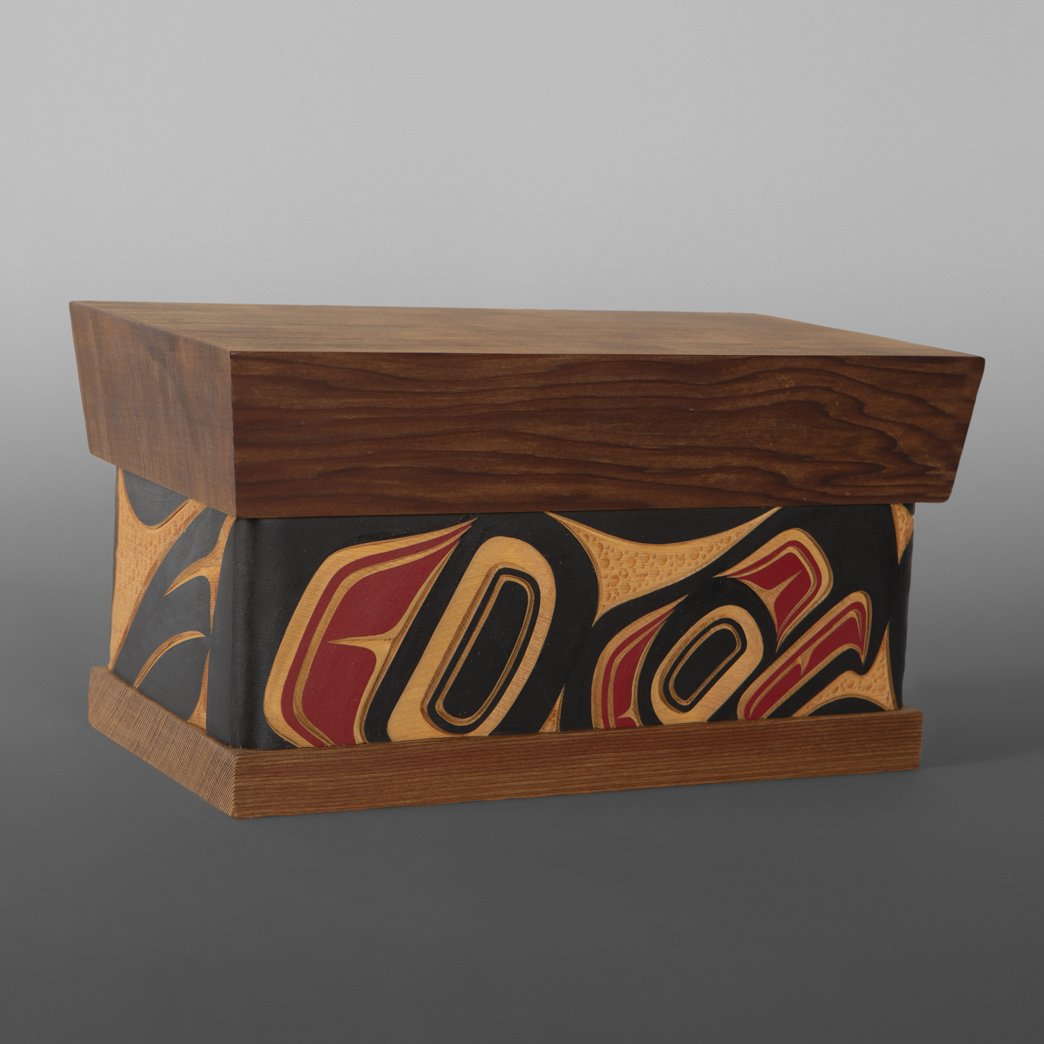 "Eagle Bentwood Box James Michaels Metis Red & yellow cedar, paint 9"" x 5"" x 4¾ $400"