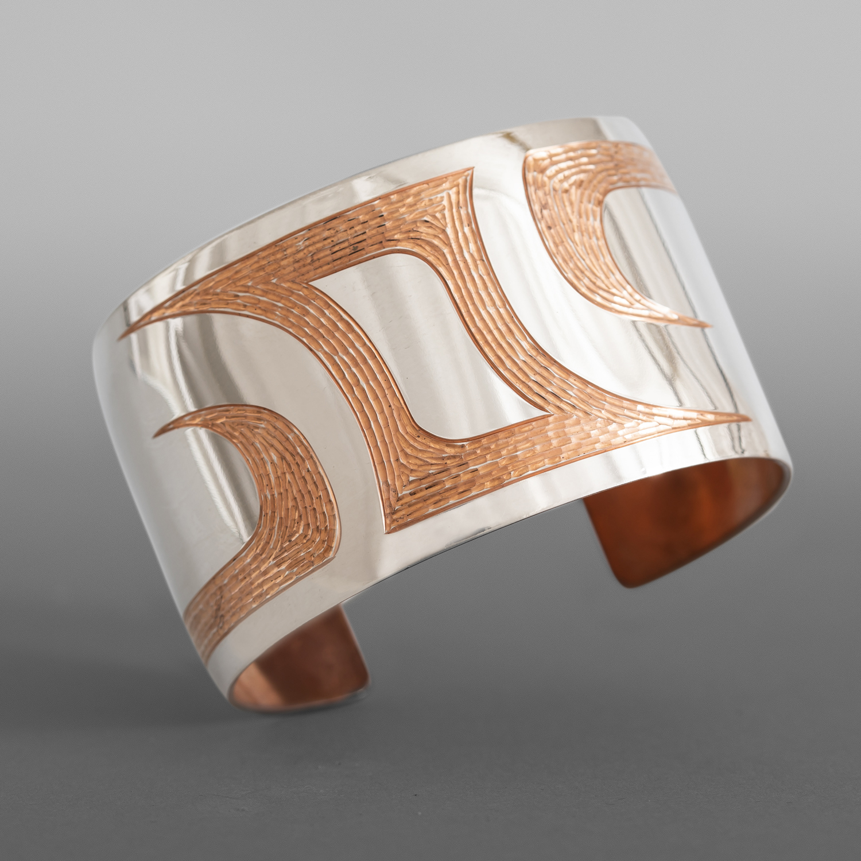 "Ovoids Cuff Bracelet Jennifer Younger Tlingit Copper, silver 5"" x 1½"" $1300"