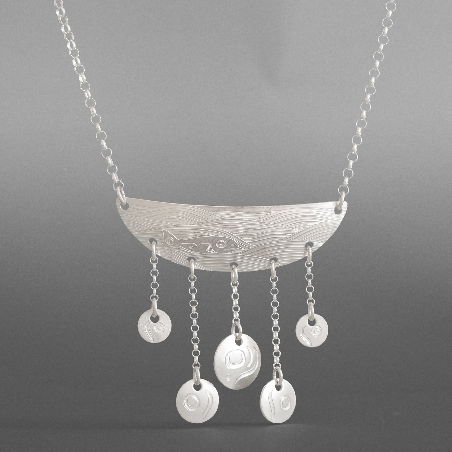 """Salmon Spawn Necklace Jennifer Younger Tlingit Silver, silver chain 2½"""" x 1¾""""  $350"""
