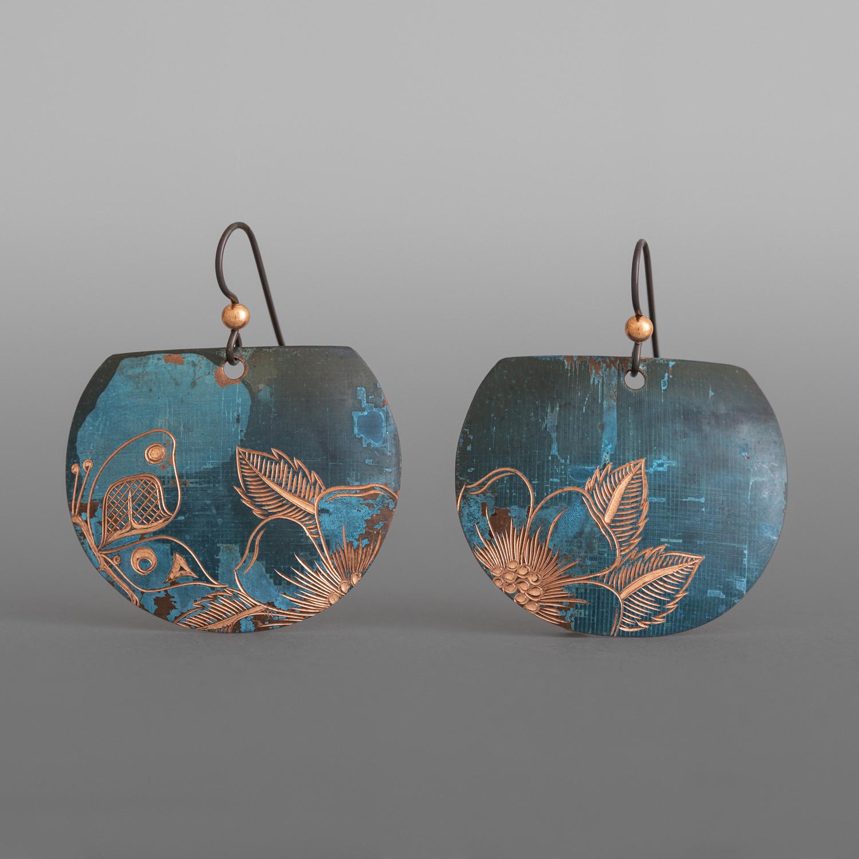 Butterfly & Wildrose Earrings Jennifer Younger Tlingit Copper