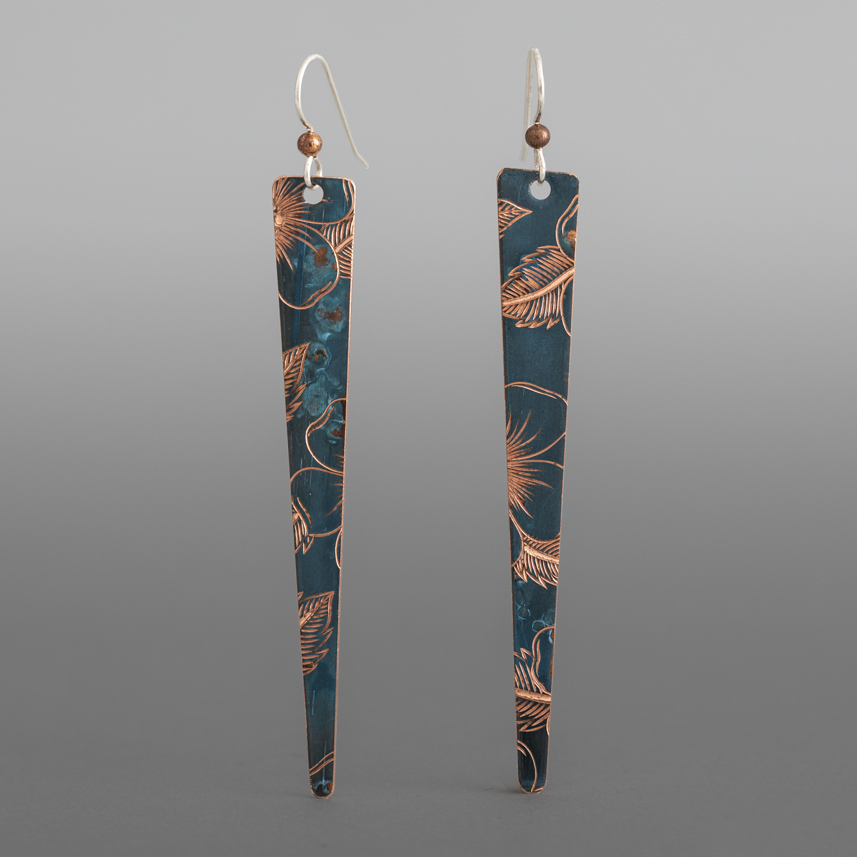Wildrose Dagger Earrings Jennifer Younger Tlingit Copper