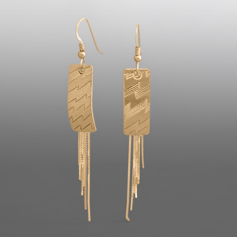 """Lightning Spruce Root Basket Pattern Earrings Jennifer Younger Tlingit 14k  gold, gold chain 2 ¼""""  x ¼"""" $850"""