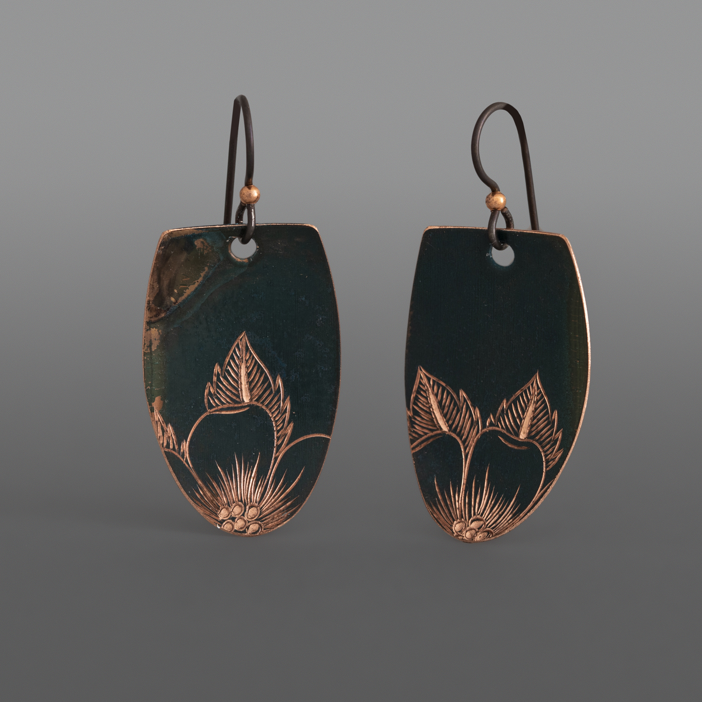 "Rosetips Earrings Jennifer Younger Tlingit Patinated copper 1 ½"" x ¾"" $150"