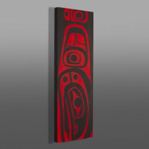 "Raven in Dorsal Fin Steve Smith - Dla'kwagila Oweekeno Acrylic on birch panel 12"" x 36"" $1600"