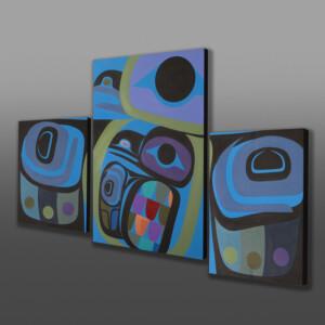 """Raven Within Triptych  Steve Smith - Dla'kwagila Oweekeno Acrylic on birch panel 62"""" x 38"""" $6800"""