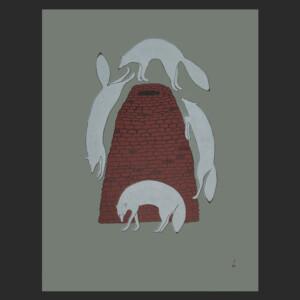QUVIANAQTUK PUDLAT Sly Foxes Stonecut Printer: Cee Pootoogook