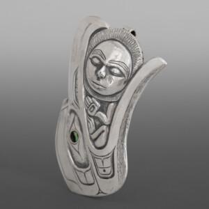 "Raven & the Moon Gus Cook Kwakwaka'wakw Silver repoussé, abalone 2¼"" x 1½ x ¼"" $2200"