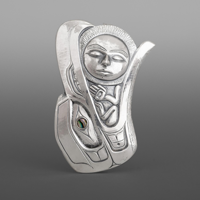"Raven & the Moon Gus Cook Kwakwaka'wakw Silver repoussé, abaloRaven & the Moon Gus Cook Kwakwaka'wakw Silver repoussé, abalone 2¼"" x 1½ x ¼"" $2200ne 2¼"" x 1½ x ¼"""