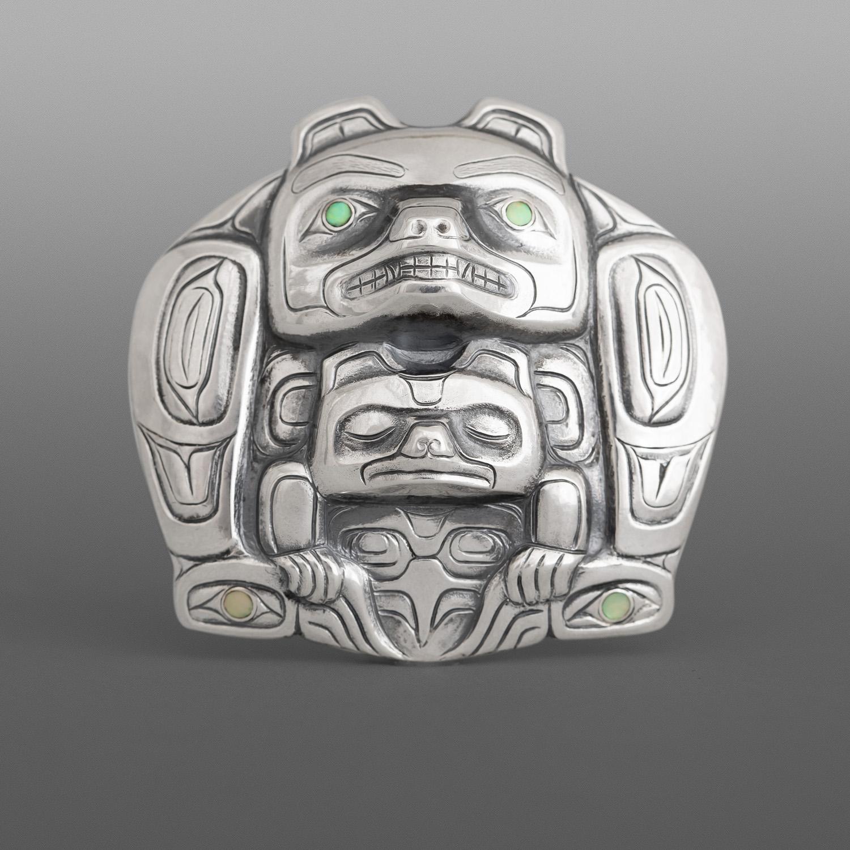 Northwest Coast Native Haida Art Dzunukwa and Moon Art Pendant Necklace
