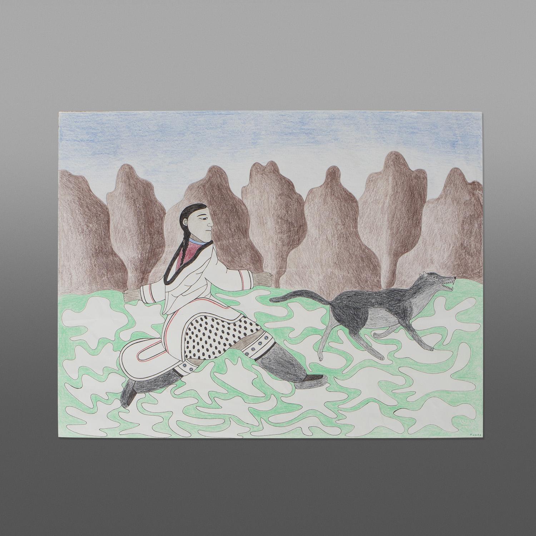"Running Across the Tundra Kenojuak Ashevak (1927-2013) Inuit Lithograph (1989) 26"" x 20""040-2086"
