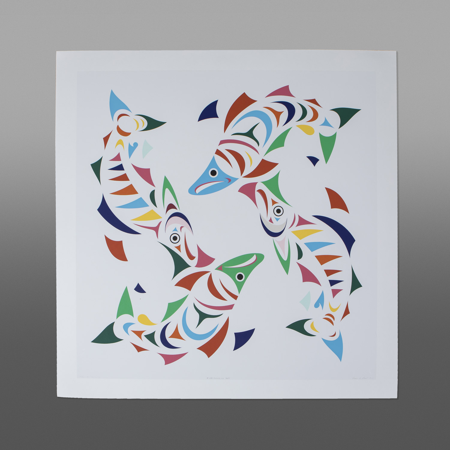"Ever Changing Sea (State I of II) Susan Point, RCA Coast Salish Serigraph 30"" x 30"" $900"