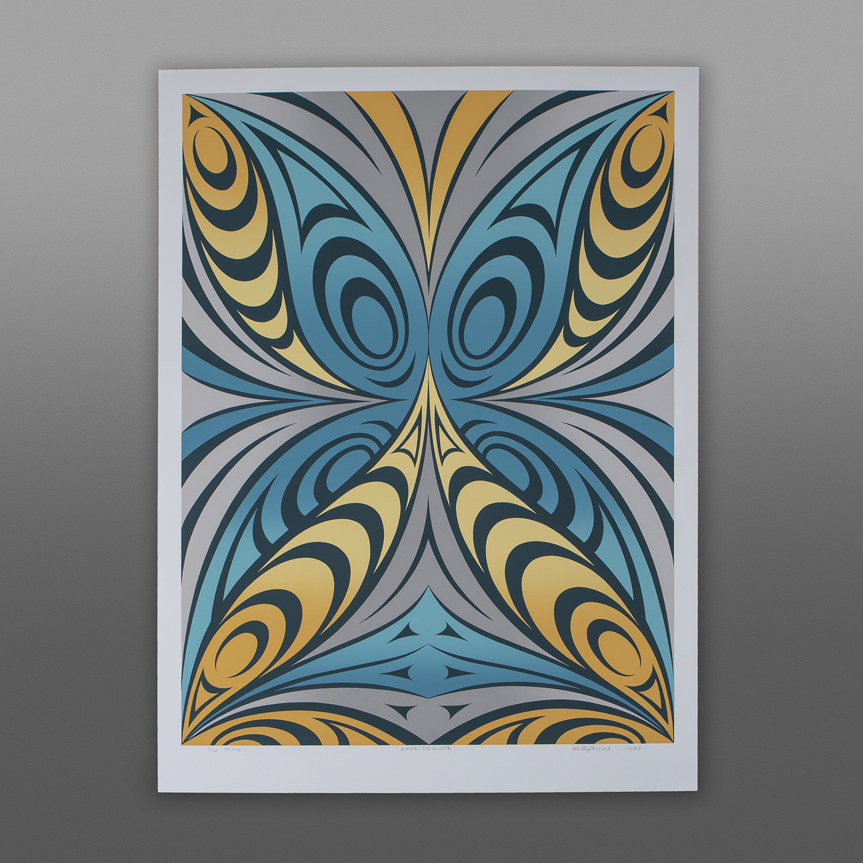 "Kaleidoscope (State I) Kelly Cannell Coast Salish Serigraph  30"" x 22"" $500"