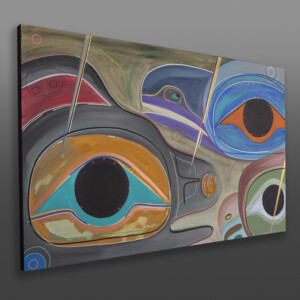 """Old Friends Steve Smith - Dla'kwagila Oweekeno Acrylic on canvas 30"""" x 48"""" x 1½"""" $5000"""