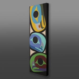 """Eagle Family Steve Smith - Dla'kwagila Oweekeno Acrylic on birch panel 36"""" x 12"""" x 1½"""" $1700"""