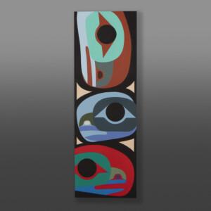 """Raven Family Steve Smith - Dla'kwagila Oweekeno Acrylic on birch panel 36"""" x 12"""" x 1½"""" $1700"""