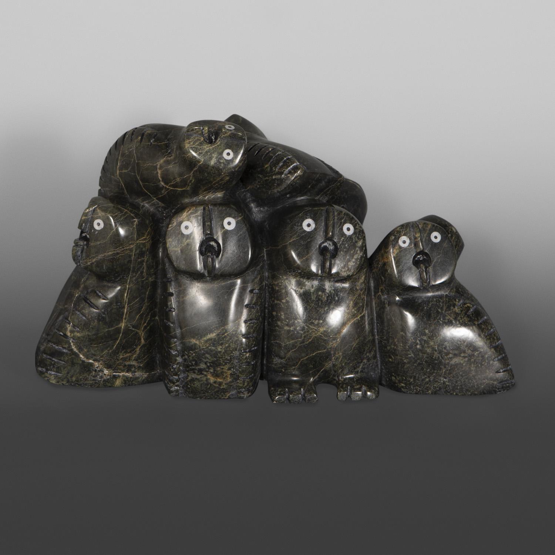 """Parliament Palaya Qiatsuq Inuit Serpentine, bone 15 ½"""" x 9"""" x 6 ½"""" $5800"""