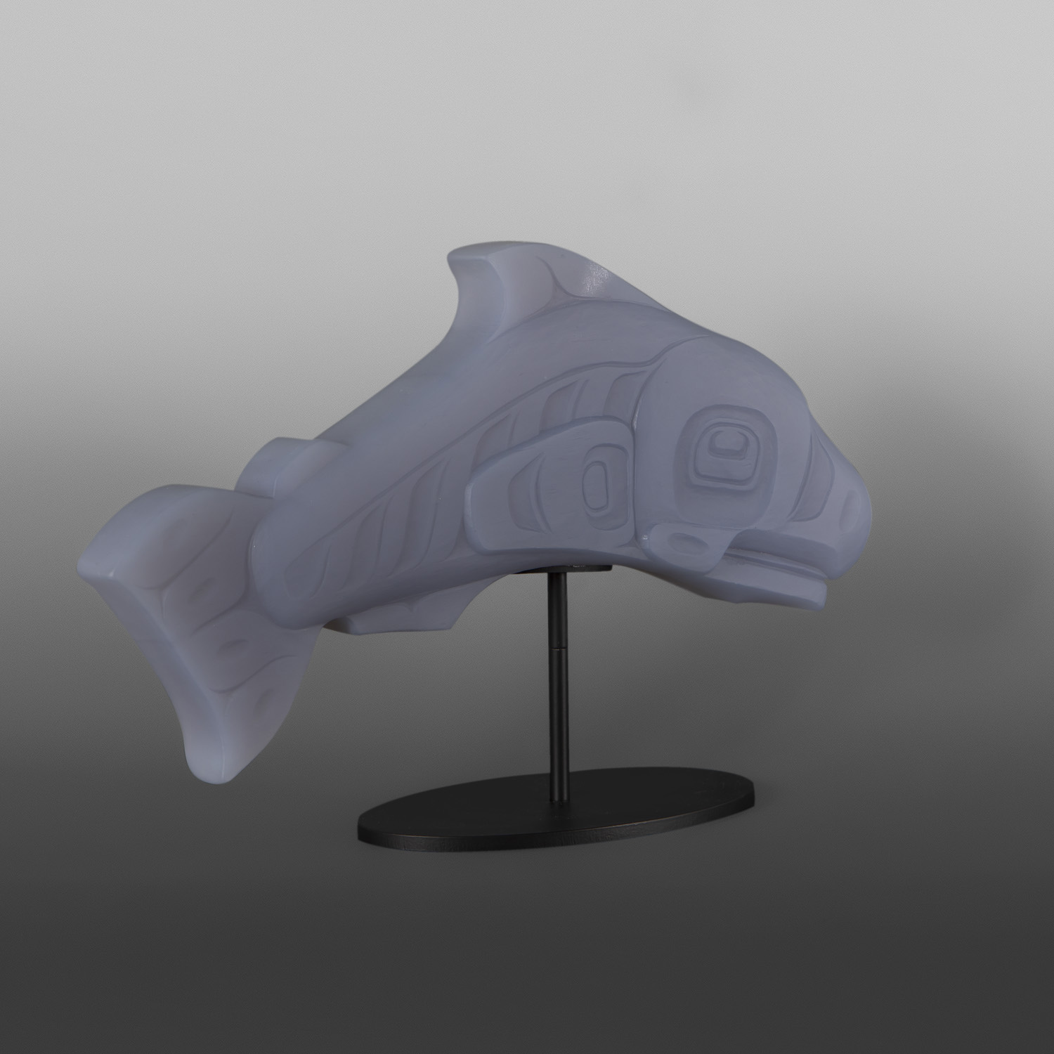 "Salmon (Opaque Blue) Preston Singletary Tlingit  Cast crystal, custom stand 14"" x 9"" x 4"" $6000"