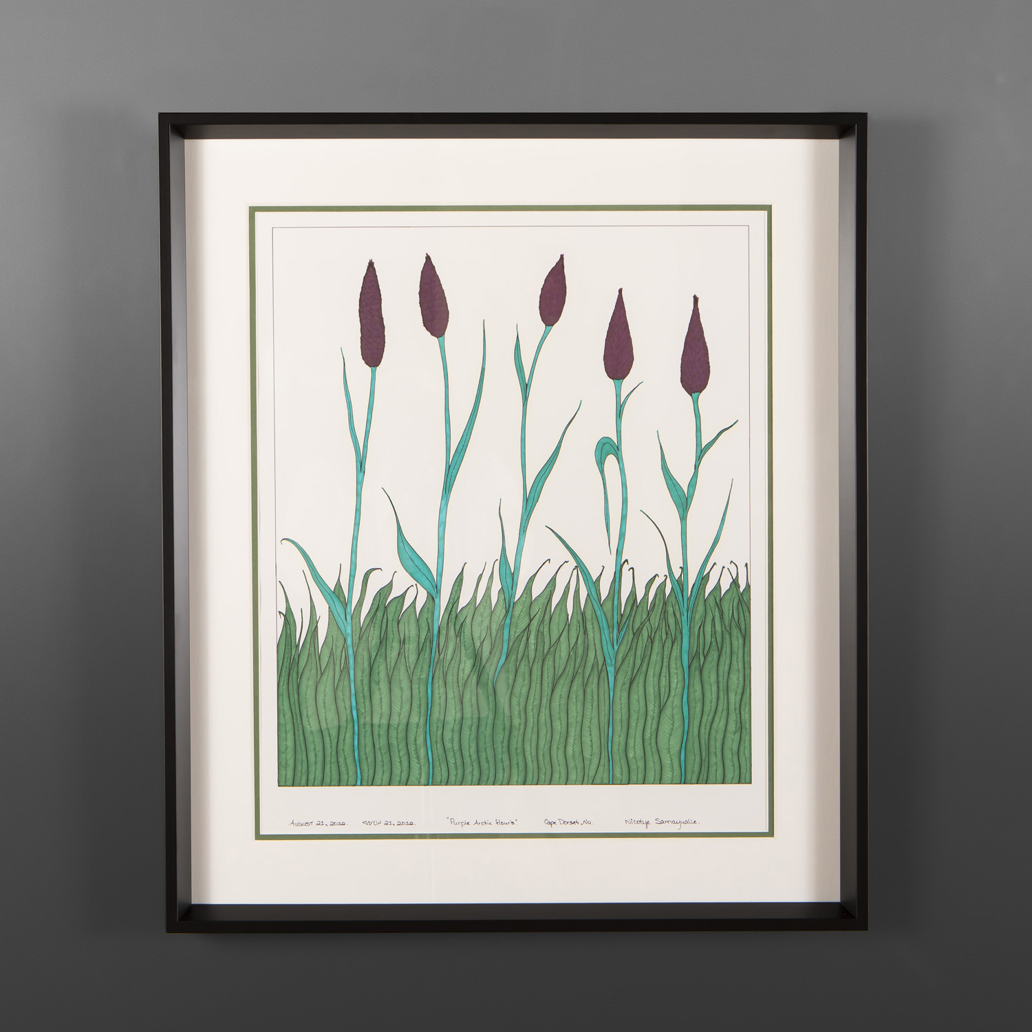 "Purple Arctic Flowers Nicotye Samayualie Inuit Ink, color felt on paper, museum framing 19½"" x 25½"" $925"