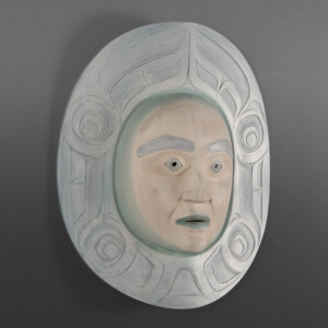 "goomsm – Winter Phil Gray, Ts'msyen Red cedar, acrylic paint 22"" x 20"" x 8"""