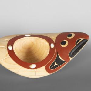 "Halibut Bowl David A Boxley Ts'msyen Yellow cedar, paint 12½""w x 5""t x 3½""d"