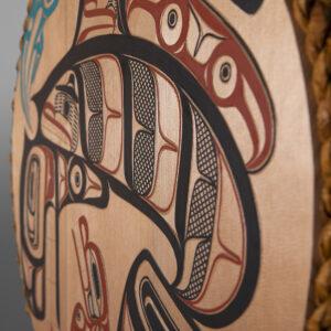 "Orca & the Seal Panel David A Boxley Tsimshian Red cedar, cedar rope, paint 24"" dia. x 1"" $4900"
