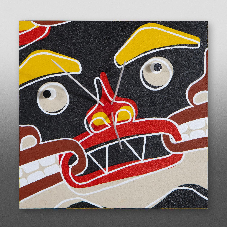 "Politician -Study 1  Clinton Work Kwakwaka'wakw  Acrylic on birch panel 12"" x 12"" x 4"" $900"