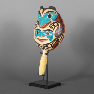 """Wolf Globe Rattle David A Boxley Red cedar, leather, beads, paint, custom stand 11"""" (13 w/ stand) x 5½"""" x 4½"""""""