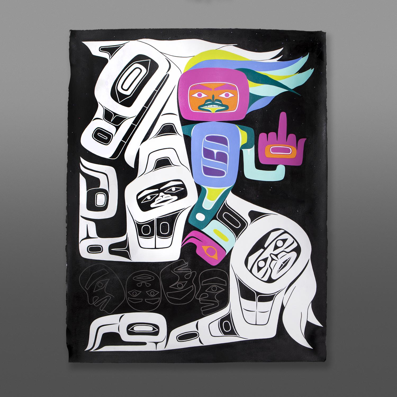 "Fck Ur Colonial Gaze Alison Bremner Tlingit Acrylic on Arches paper, unframed 30"" x 22""$6000"