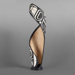 "It's Never Black + WhiteSteve Smith - Dla'kwagila OweekenoTurned maple, paint, custom steel base 20½""x 5""x 5""$4000"