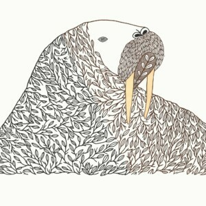 "NINGIUKULU TEEVEE 1. Floral Transformation Stonecut & Stencil Paper: Kizuki Kozo White Printer: Qiatsuq Niviaqsi 61.5 x 79.7 cm 24 ¼""x 31 ¼"" $ 1200 $900"