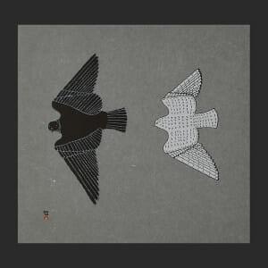 "14. Aerial Pursuit Johnny Pootoogook Inuit Stonecut Paper: Moriki Kozo Grey Printer: Tapaungai Niviaqsi 43.5 x 46 cm 17"" x 18"" $500 $400 Cape Dorset Print Collection  2020"