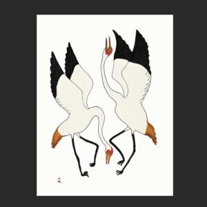 "2. Dancing Cranes Quvianaqtuk Pudlat Inuit Stonecut Paper: Kizuki Kozo White Printer: Ashoona Ashoona 82.5 x 62 cm 32 ½"" x 24 ½"" $900 $720 Cape Dorset Print Collection 2020"
