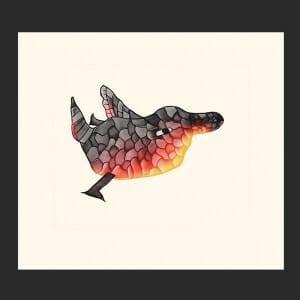 "5. Mosaic Bird Malaija Pootoogook Inuit Etching & Aquatint Paper: Arches White Printer: Studio PM 57 x 63 cm 22 ½"" x 24 ¾"" $600 $480 Cape Dorset Print Collection  2020"