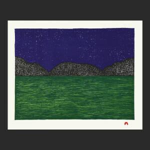 """4. Naimaut Nujalia Quvianaqtuliaq Inuit Lithograph Paper: Arches Cover White Printer: Nujalia Quvianaqtuliaq 34.6 x 42.8 cm 13 ½"""" x 16 ¾"""" $450 $360 Cape Dorset Print Collection  2020"""