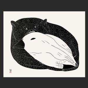 """6. Nunavut Vampire Malaija Pootoogook Inuit Stonecut Paper: Kizuki Kozo Natural Printer: Qavavau Manumie 38.4 x 46.9 cm 15"""" x 18 ½"""" $500 $400 Cape Dorset Print Collection  2020"""