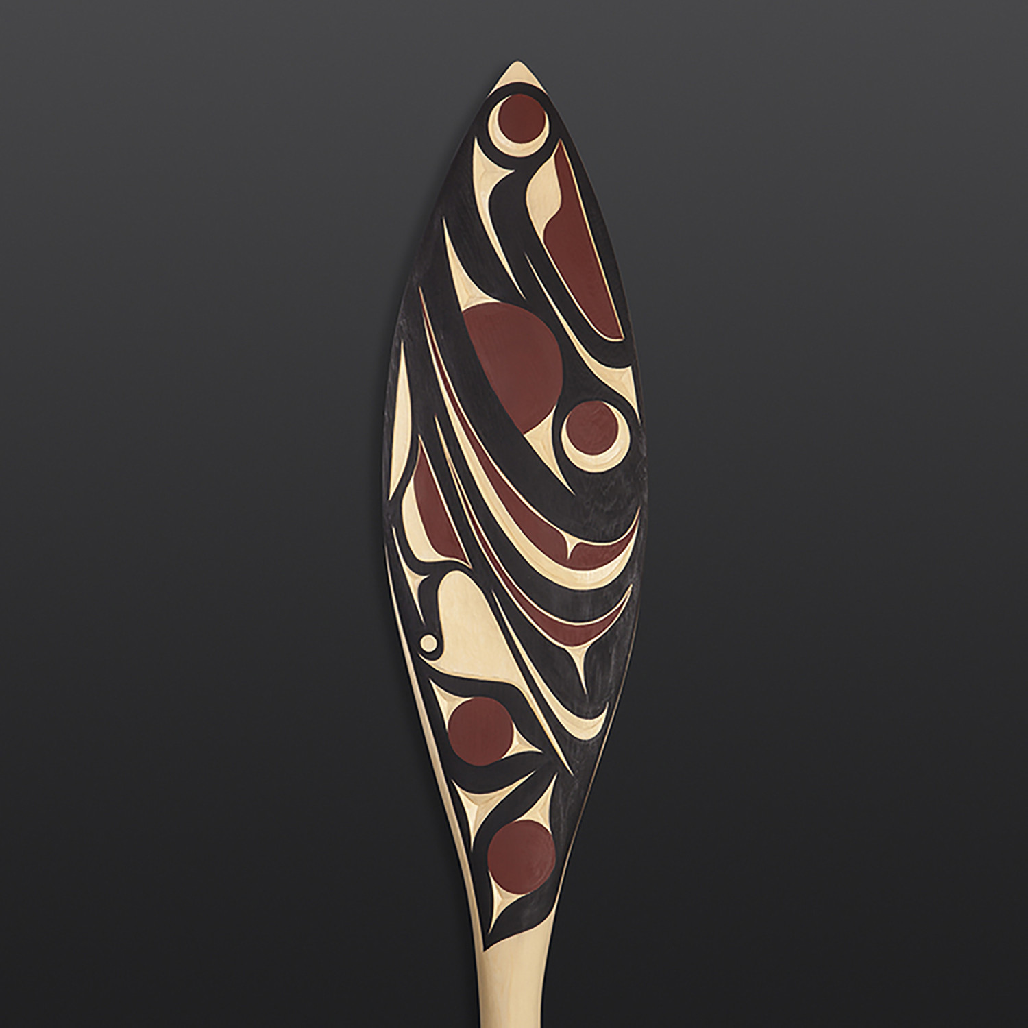 "Salmon Andy Peterson Coast Salish Yellow cedar, paint 49½"" x 7"" x 1½"""