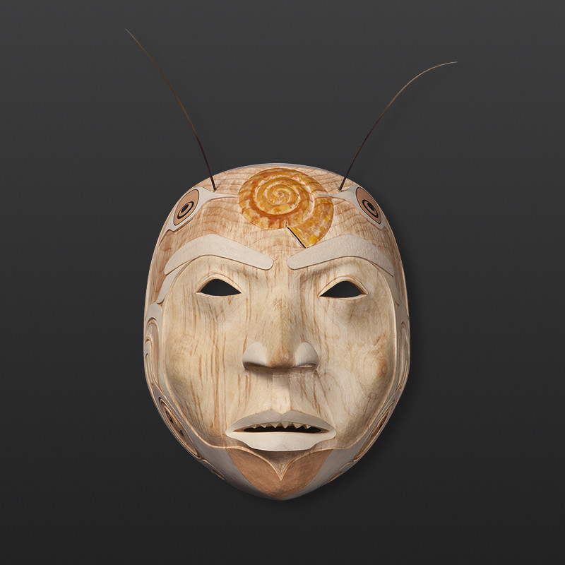 Prince Snail Shawn Aster Tsimshian Yellow cedar, paint, sea lion whiskers