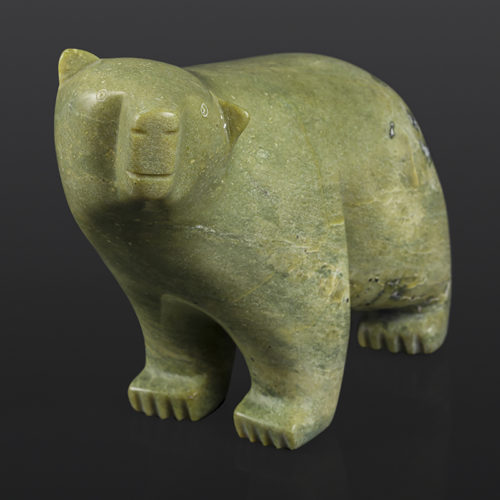 "Curious Bear Anu Arlooktoo Inuit Serpentine 11"" x 4 ½"" x 7"" $1050 polar bear arctic art cape dorset"