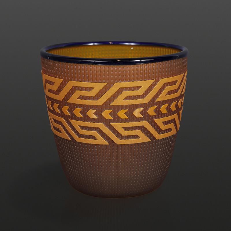"Amber Basket Preston Singletary Tlingit Blown & sand-carved glass 5½"" x 5½"" $3000"