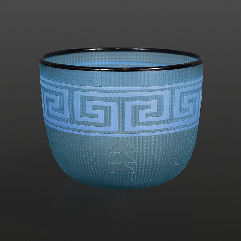"Light Blue Basket Preston Singletary Tlingit Blown & sand-carved glass 6"" x 5"" $3000"