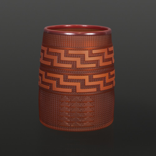 "Tangerine Basket Preston Singletary Tlingit Blown & sand-carved glass 6"" x 4½"""" $3000"