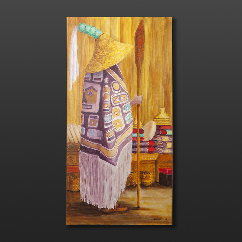 "Potlatch Jean Taylor Tlingit Original painting – acrylic on canvas 18"" x 36"" $1780"
