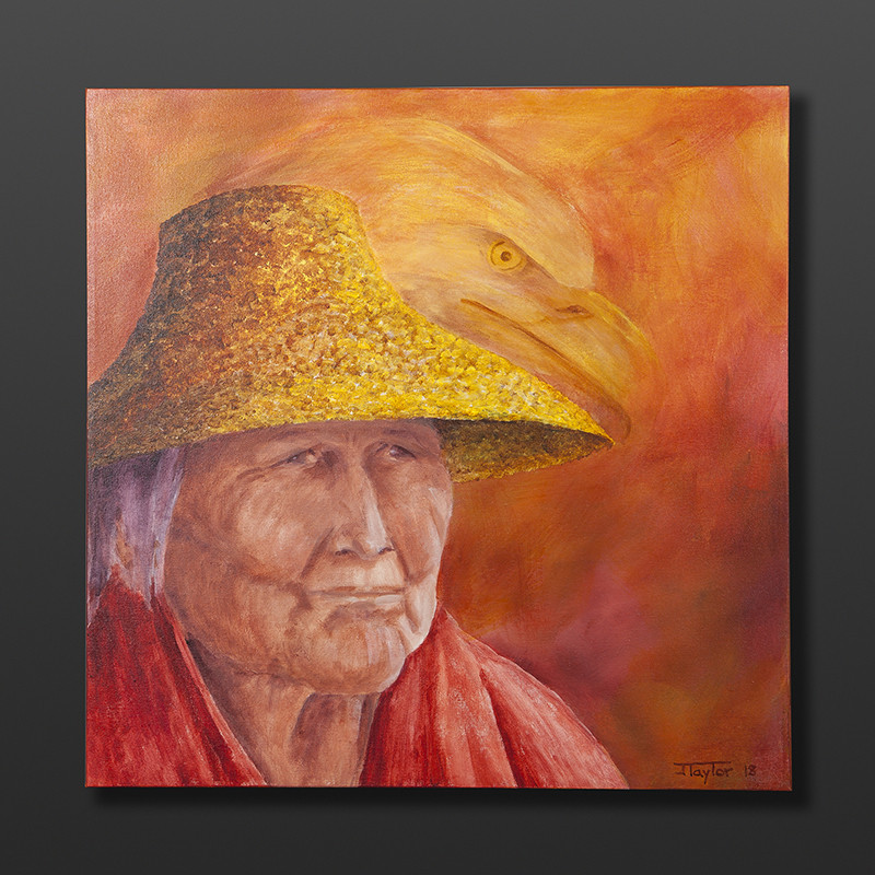 "Wise Ones Jean Taylor Tlingit Original painting – acrylic on canvas 24"" x 24"" $1440"