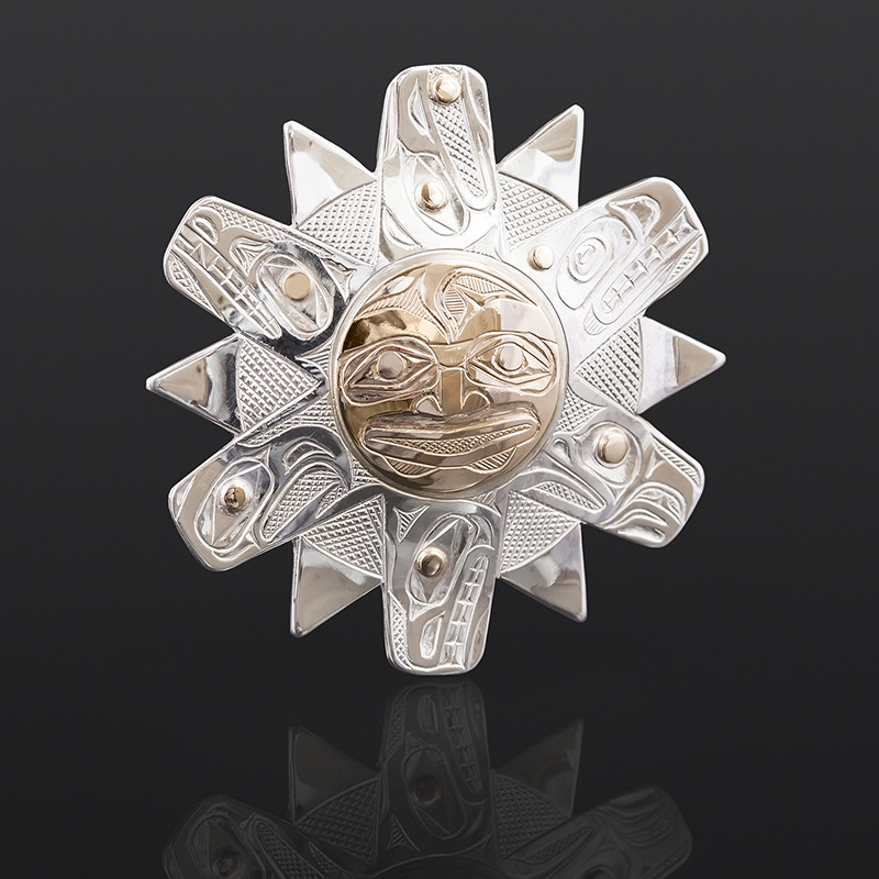 "All Creatures Under the Sun Kelvin Thompson Saulteaux/Haisla Silver, 14k gold 2"" x 2"" $1100"