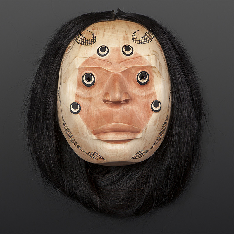 "Spider's Wife Shawn Aster Tsimshian Alder, paint, horse hair 9"" x 5½"" x 10"""